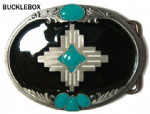 INDIAN CROSS - STONE SUN DESIGN Belt Buckle + display stand. Code OA2